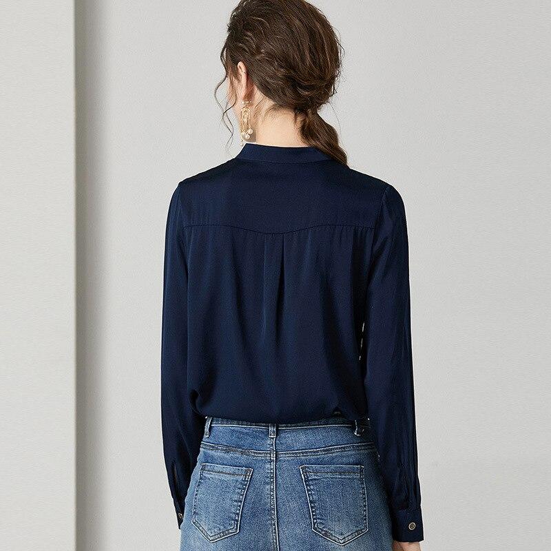 Blusa de seda de calidad superior camisa 2020 estilo primavera mujer bloque de Color Patchwork manga larga marrón blanco elegante camisas de trabajo femenino - 4