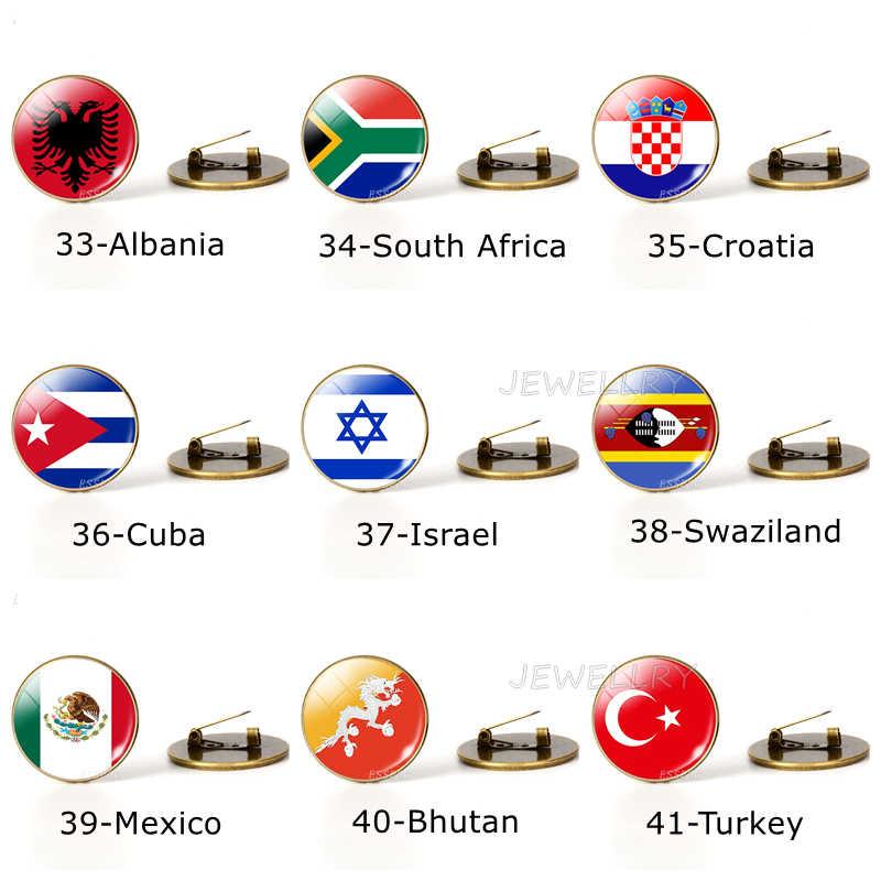 Negara Bendera Dunia Bros Pin Bendera Nasional Bros USA Kami Kanada Inggris Spanyol Rusia Norwegia Perhiasan Dropshipping