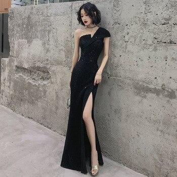 One Shoulder Black Chinese Oriental Wedding Female Noble Cheongsam Evening Dress Elegant Modern Celebrity Banquet Dresses