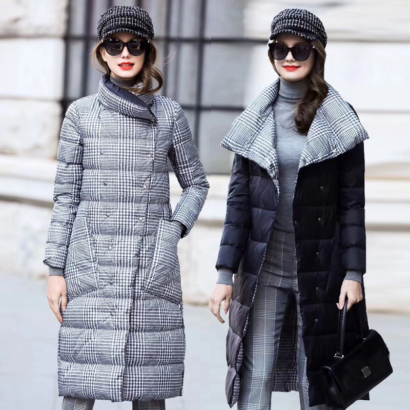 2019 Duck Down Jacket Women Winter Long Thick Double Sided Plaid Coat Female Plus Size Warm Down Parka For Women Slim Clothes