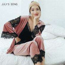 Julysong s song ouro veludo pijamas feminino outono inverno quente pijamas definir feminino sexy rendas sleepwear sem mangas cinta pijamas robe