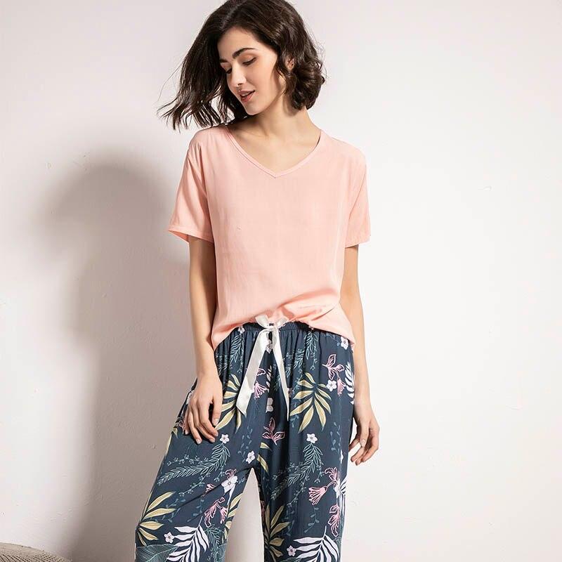 Floral Printed Women Pajamas Set Spring & Summer New Solid Color Sleepwear Comfort Loose Homewear Ladies Elegant Casual Wear