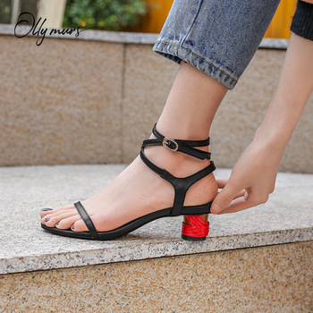 OllyMurs Fashion Black Women Summer Gladiator Sandals Open Toe Buckle Strap Thick Mid Heel Women Sandals Party Shoes Woman