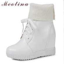 Купить с кэшбэком Meotina Winter Ankle Boots Women Lace Up Height Increasing High Heel Short Boots Knitting Round Toe Shoes Lady Autumn Size 33-43