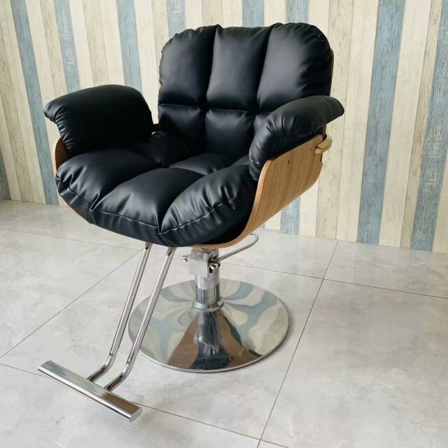 Barbershop Chair Simple Modern Hair Salon Special Cut Hair Stool Can Be Put Down Stainless Steel Hairdressing Chair