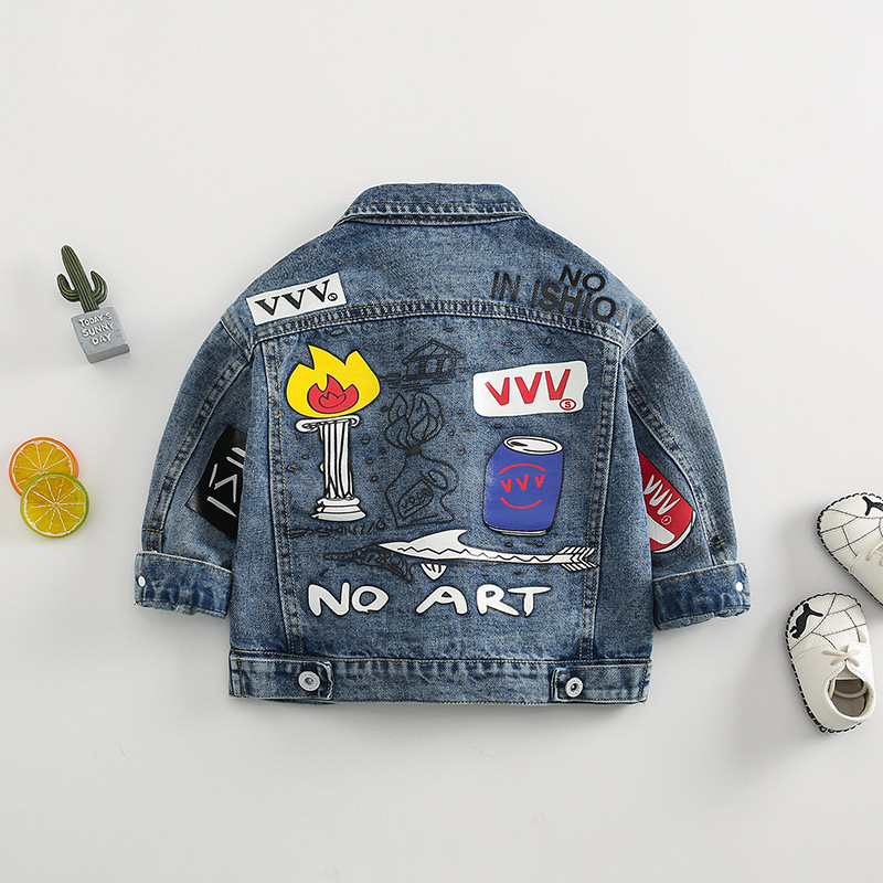 Boys' Denim Jacket Spring And Autumn GIRL'S Jacket On Clothes 2019 New Style Pure Cotton Children Trench Coat Autumn Clothing We