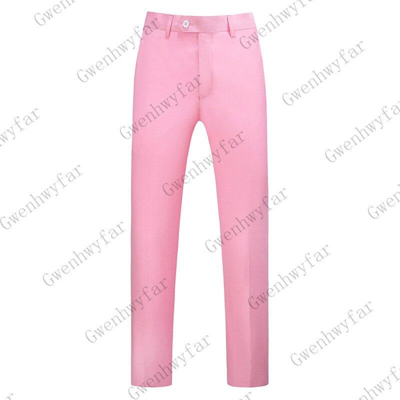 Gwenhwayfar, мужские синие клетчатые брюки, деловой костюм, брюки, деловые повседневные облегающие брюки, Классический Клетчатый костюм, брюки для свадьбы - Цвет: Розовый