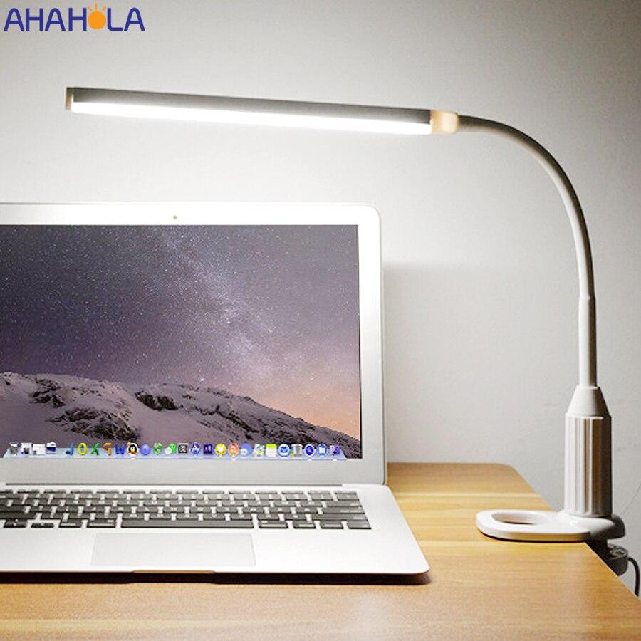 Гибкая светодиодная настольная лампа, USB-лампа с зажимом для гостиной, настольная лампа для чтения, подставка для студентов, лампа для чтени...