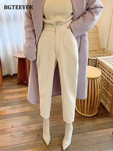 BGTEEVER Harem Jeans Pants Trousers Buttons Spring Streetwear Loose High-Waist White Denim