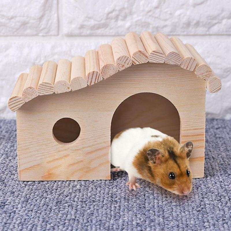 VKTECH Hamster Hedgehog Sleeping Beds Portable Wooden Anti-mite Small Animal Cozy House Dodge Assembling Cottage Pet Supplies