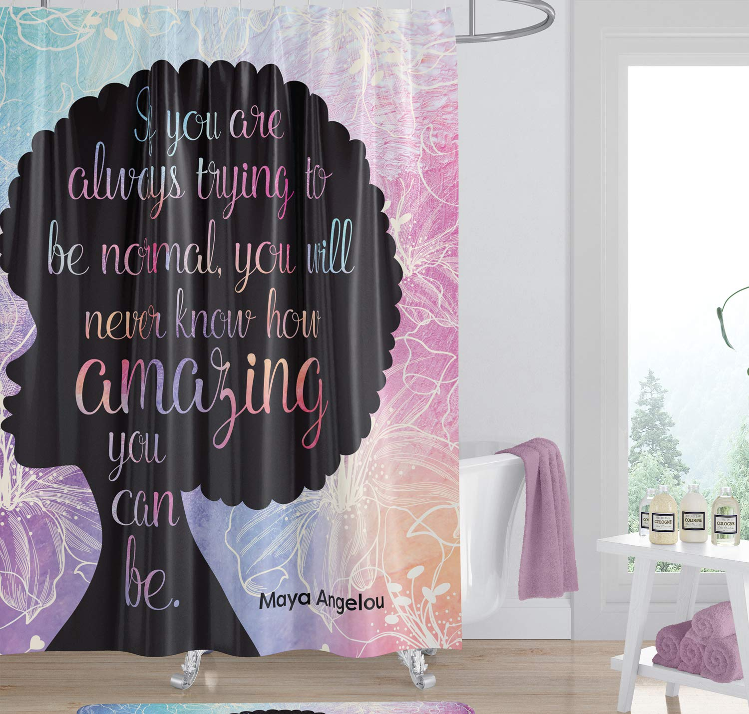 African American Expressions Shower Curtain With Hooks Natural