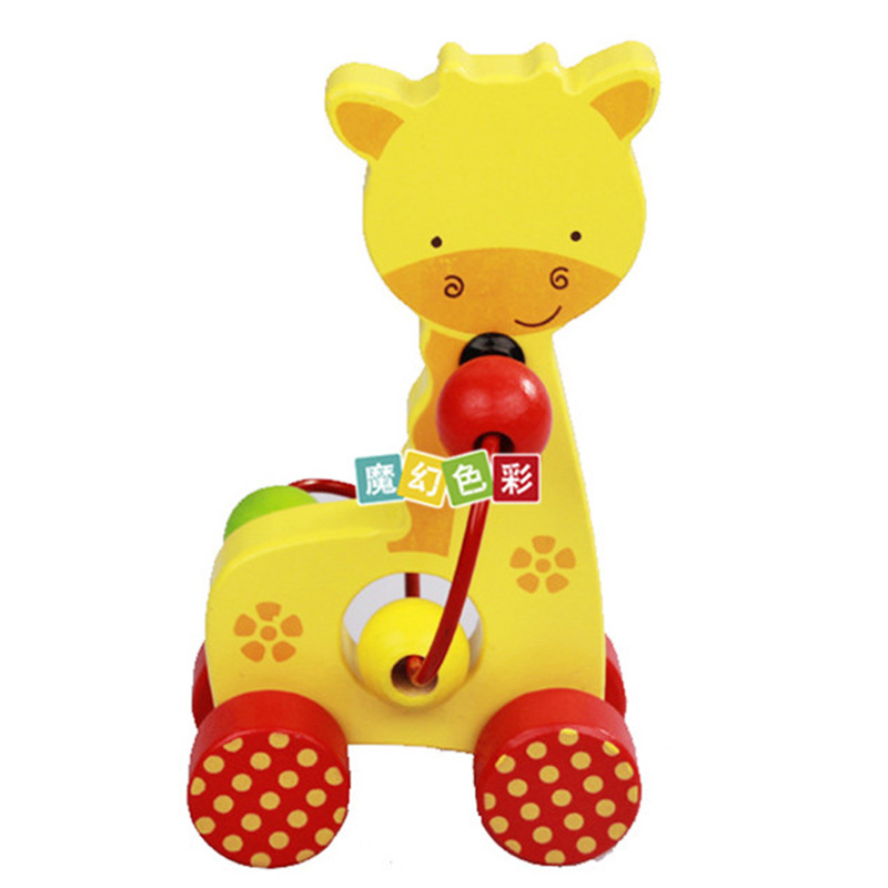 Wooden Mini Cartoon Animal Bead-stringing Toy Hand Push Small Car 0-3-Year-Old Children'S Educational Wooden Toy
