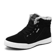 Men Boots Fashion Winter Waterproof Snow Lace Up Ankle Warm Shoes Male Size 39-48