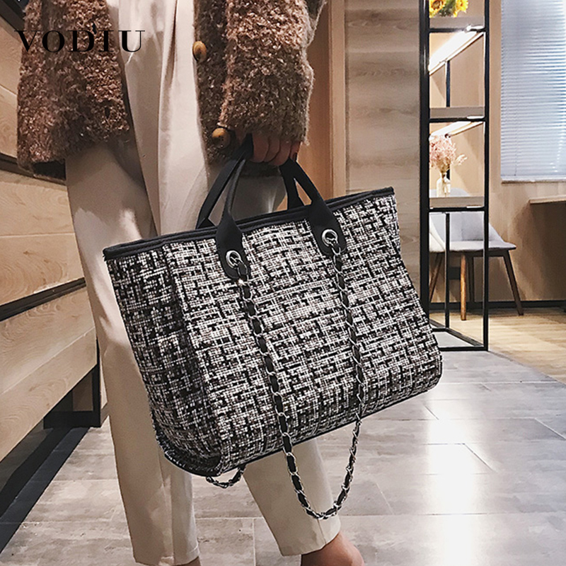 Bag Women Luxury Handbags Designer 2019 Fashion Tote Big Capacity Wool Leisure Shopping Female Travel Handbag Shoulder Women Bag
