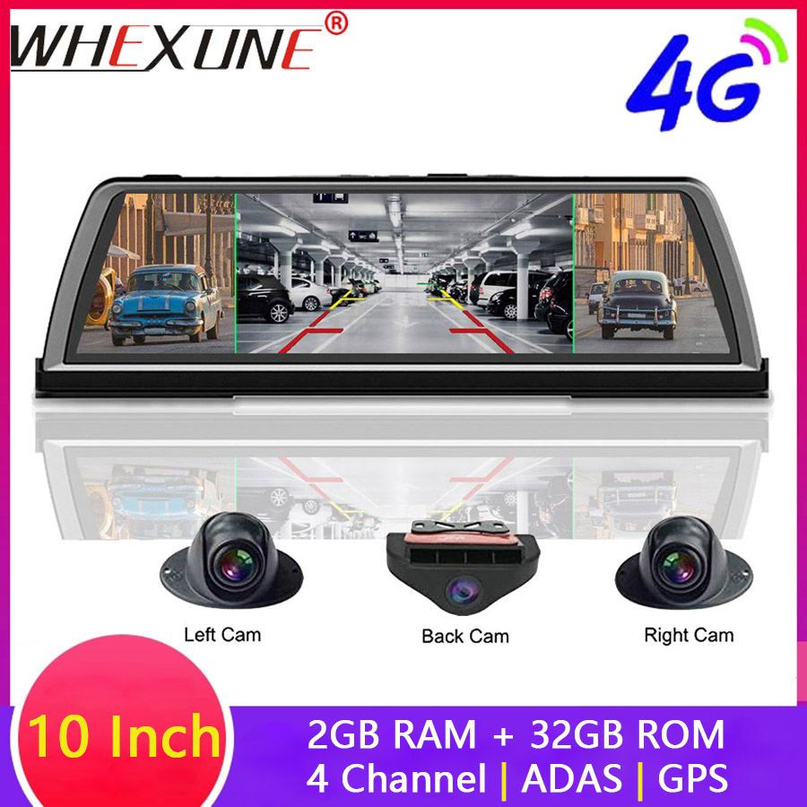 WHEXUNE 4G Android Car DVR Dash cam 4 Lens 10 inch Navigation ADAS GPS WiFi Full HD 1080P Video Recorder 2GB+32GB Vehicle Camera