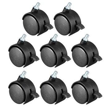 Uxcell rodas giratórias de nylon, 4 peças-20 peças de 1.5 polegadas, 2 polegadas, 360 graus m6 m8 m10 rosqueado roda resistente sem freio
