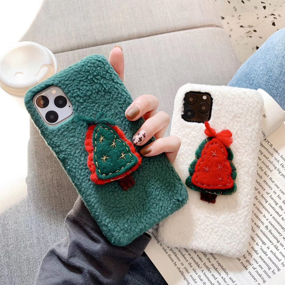 Merry Christmas Tree Fuzzy Warm Cover For For Iphone 11 Pro Max