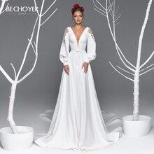 Seksowna dekolt w serek satyna line suknia ślubna BE CHOYER EL11 z długim rękawem koronkowy suwak sąd pociąg księżniczka suknia ślubna Vestido de Noiva