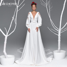 Sexy col en v Satin a ligne robe de mariée être CHOYER EL11 à manches longues dentelle fermeture éclair Court Train princesse robe de mariée robe de Noiva