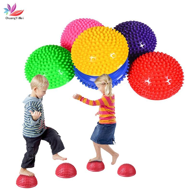 Children Hemisphere Stepping Stones Spiky Massage Balance Ball Yoga Half Ball Sensory Integration Ball Pump Free M077