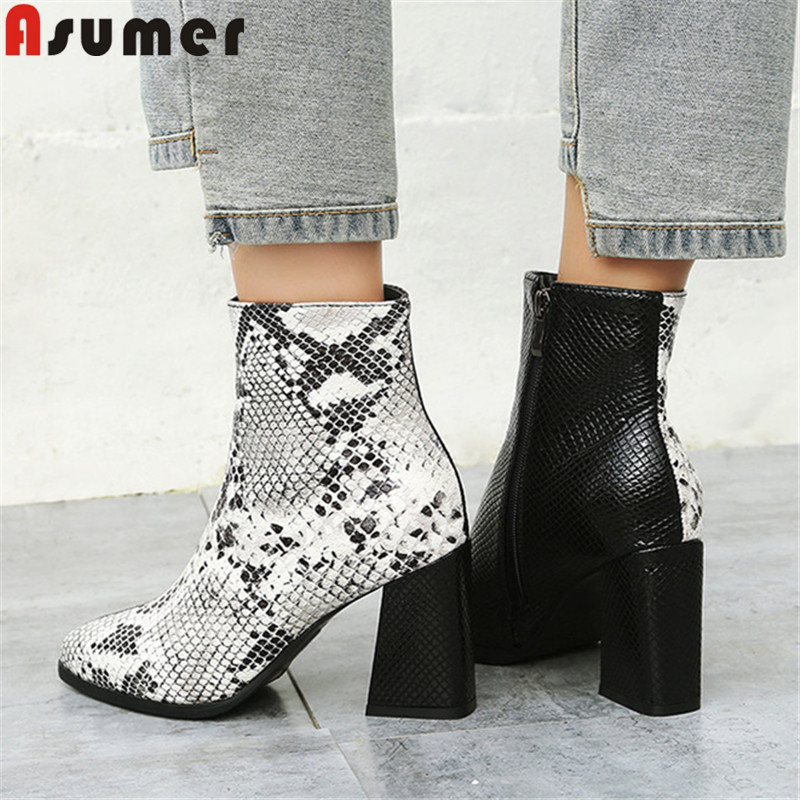 ASUMER Winter Boots Shoes High-Heels Pointed-Toe Mixed-Colors Autumn Big-Size Fashion