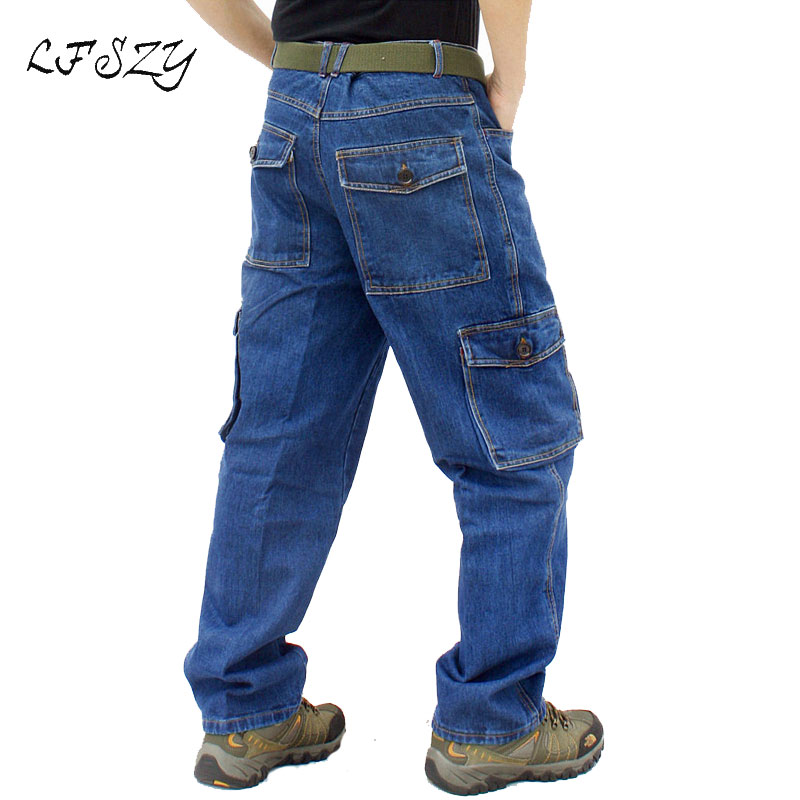 Jeans Men New Loose Large Size Sturdy Cotton Workwear Denim Trousers Casual Straight Multi-pocket Work Pants