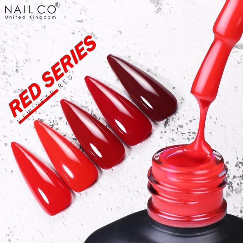 Гель-лак NAILCO серии Red для ногтей маникюрный лак базовое и топовое покрытие УФ светодиодный Гель-лак для дизайна ногтей жидкий