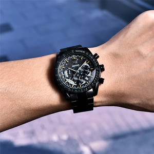 Image 4 - BENYAR Fashion Sport Watch Men Top Brand Luxury Black Male Chronograph Clock Military Stainless Steel Waterproof Wristwatch 5120