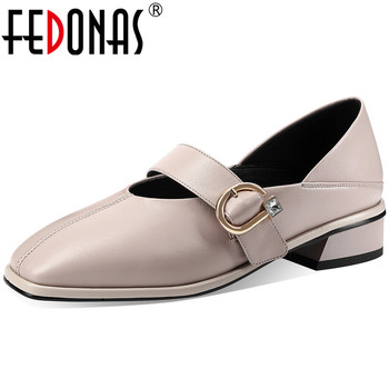 FEDONAS Concise Spring Summer Women Party Office Pumps Square Toe Shoes Sheepskin Square Heels New Fashion Shoes Woman
