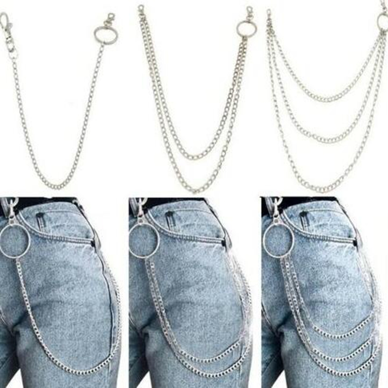 1PC Long Trousers Hipster Key Chains Punk Street Big Ring Metal Key Ring Wallet Belt Chain Pant Keychain Unisex Hip Hop Jewelry