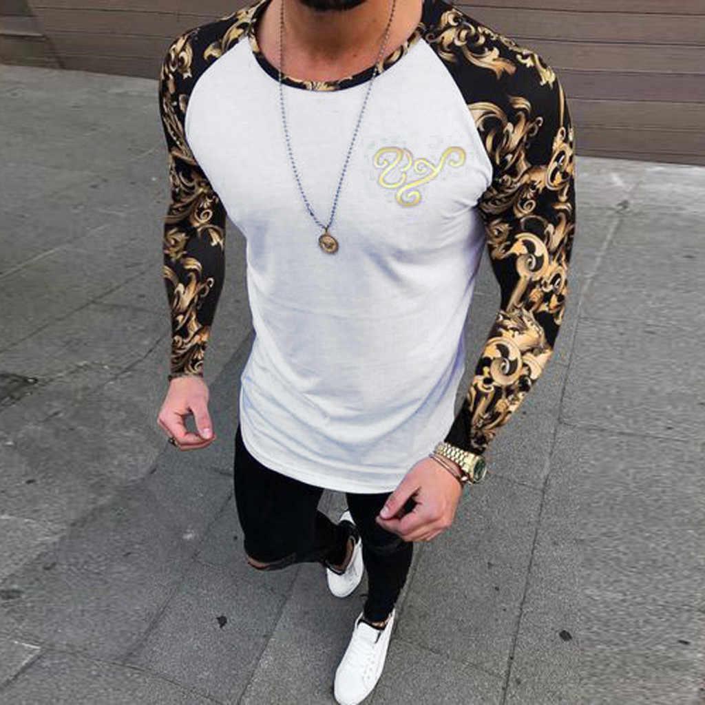 Męska koszulka szwy druku moda Slim top na co dzień mężczyźni z długimi rękawami Top patchwork człowiek Streetwear koszula top koszulka Homme