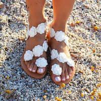 2019 nowe letnie panie buty damskie sandały białe kwiaty sandały na płaskim obcasie kobiety czeski Casual plaża buty dla kobiety 42 43 XKD4041