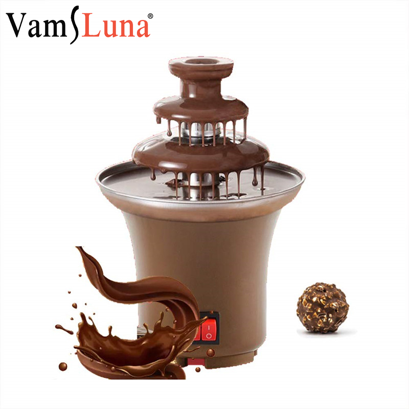 Three Layers Mini Chocolate Fountain Fondue Creative Chocolat Melt With Heating Machine DIY Melt Waterfall Pot Melting Fuente De