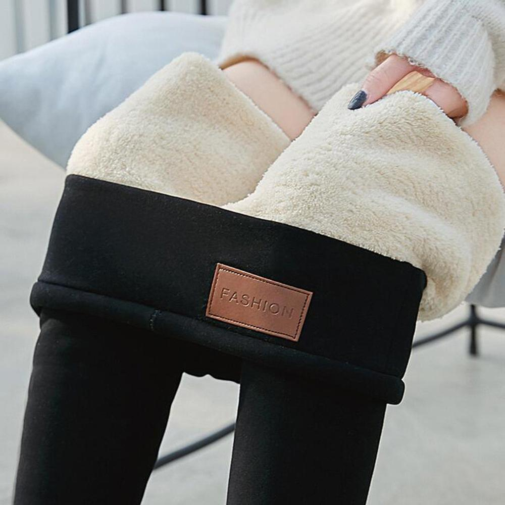 New Winter Keep Warm Thicken Wool Leggings For Women High Quality Elasticity Velvet Fashion Solid Nine Points Women's