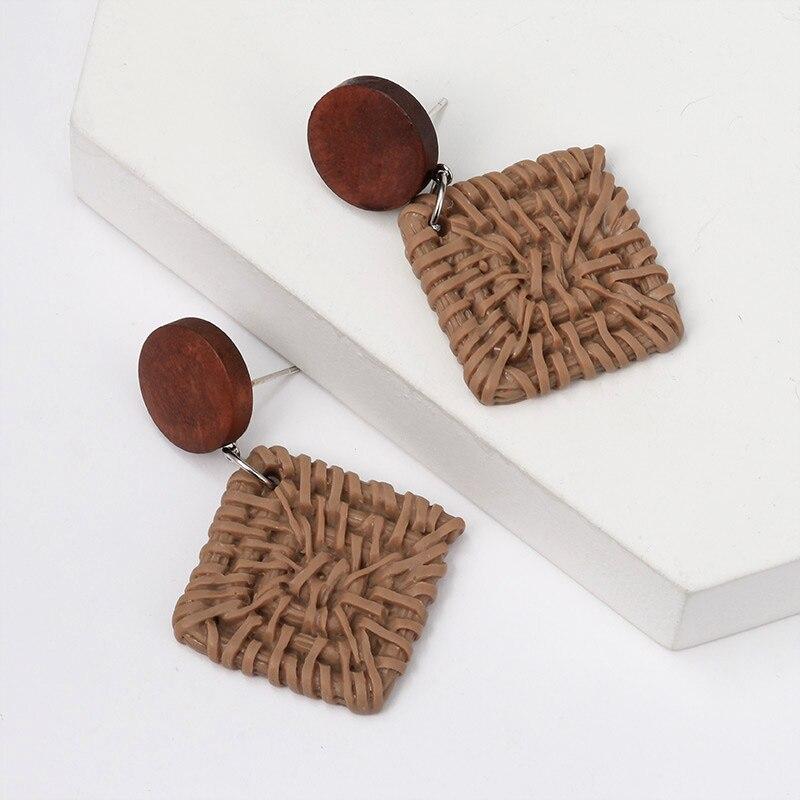 New Korean Statement Wooden Rattan Drop Earrings For Women Fashion Geometric Dangle Earings 2020 Vintage Female Earrings Jewelry