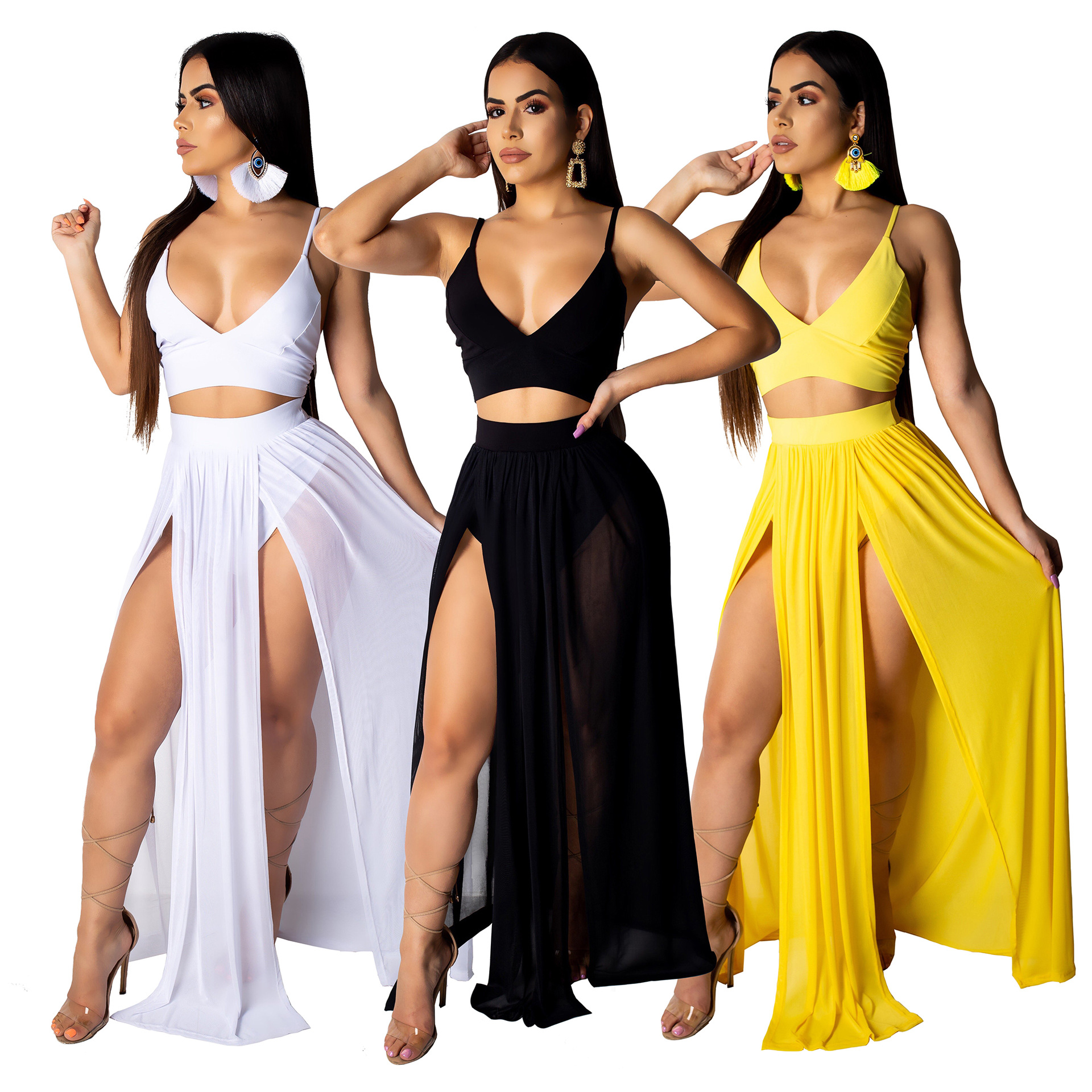 Hot Selling Summer WOMEN'S Dress Europe And America Sexy Camisole Chiffon Skirt Two-Piece Set