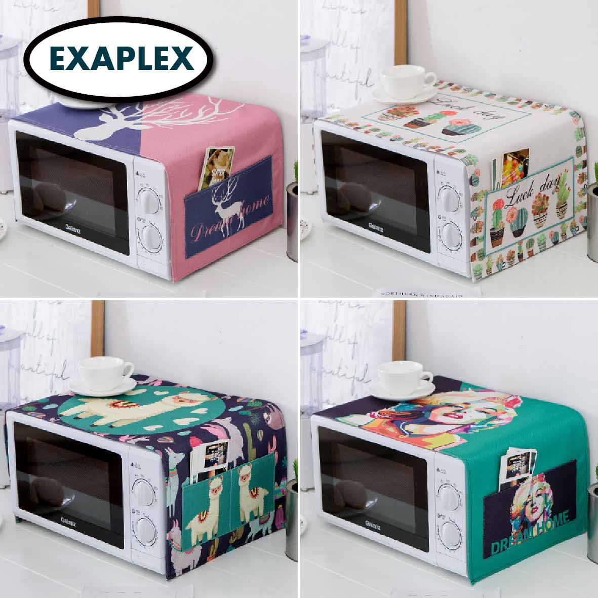 Dust Cover Microwave Oven Home Refrigerator Washing Machine Coloourful Palm Chinese Style Japanese Modern Design