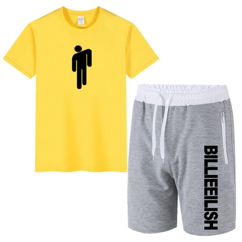 Cotton Billie Eilish Two Piece Set Men Short Sleeve T Shirt +Shorts Men's Tracksuits 2020 New Hip Hop Sportswear Short Trousers
