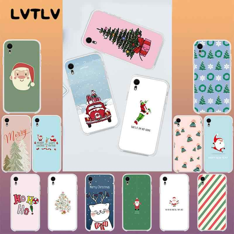LVTLV Cute Christmas Transparent Soft Shell Phone Cover for iPhone 11 pro XS MAX 8 7 6 6S Plus X 5 5S SE XR cover