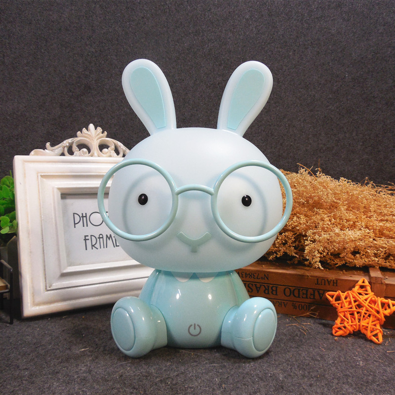 Modern Cartoon Table Lamp Kids Room Bedside Lamp Glasses Rabbit Led USB Table Light Christmas Gift Touch Switch Decor Luminaire
