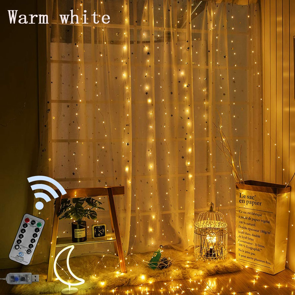 LED Curtain String Fairy Lights Christmas New Year Garland Wedding Holiday Party Festival Indoor Bedroom Window Decoration