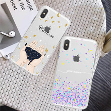 Starry Sky Phone Cases For iphone XS Max Case DIY Custom Name For iphone X XR 8 7 6S 6 Plus Cover Fashion Moon Star in Hand Case все цены