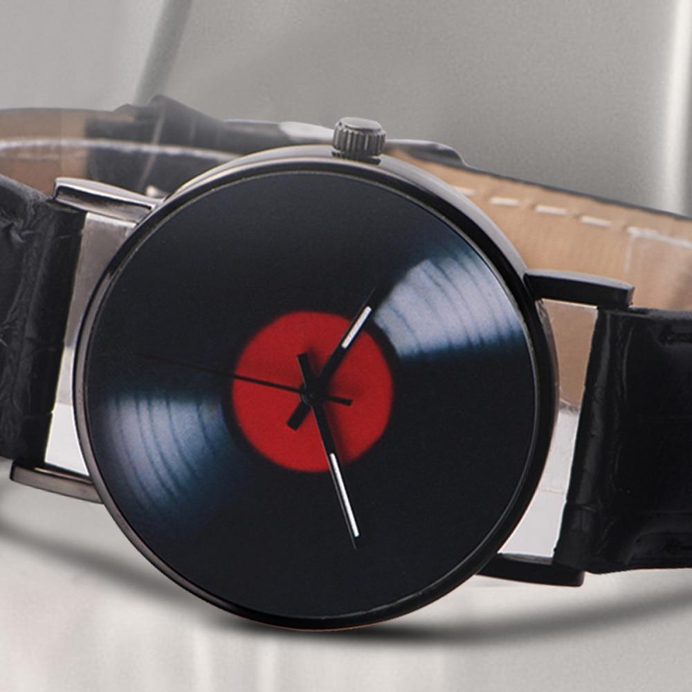 H062ef053c6bf4df0ba2a0eb1601b70f3i 2020 Fasion Men's Watch Neutral Watch Retro Design Brand Analog Vinyl Record Men Women Quartz Alloy Watch Gift Female Clock NEW