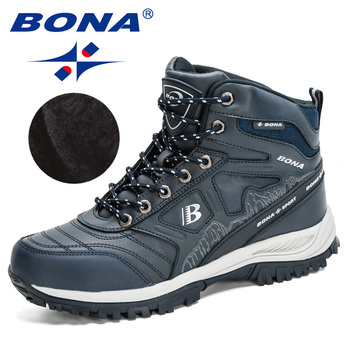 BONA 2020 New Arrival Hiking Shoes Action Leather Shoes Men Climbing & Fishing Shoes Man High Top Winter Plush Snow Boots Trendy 6