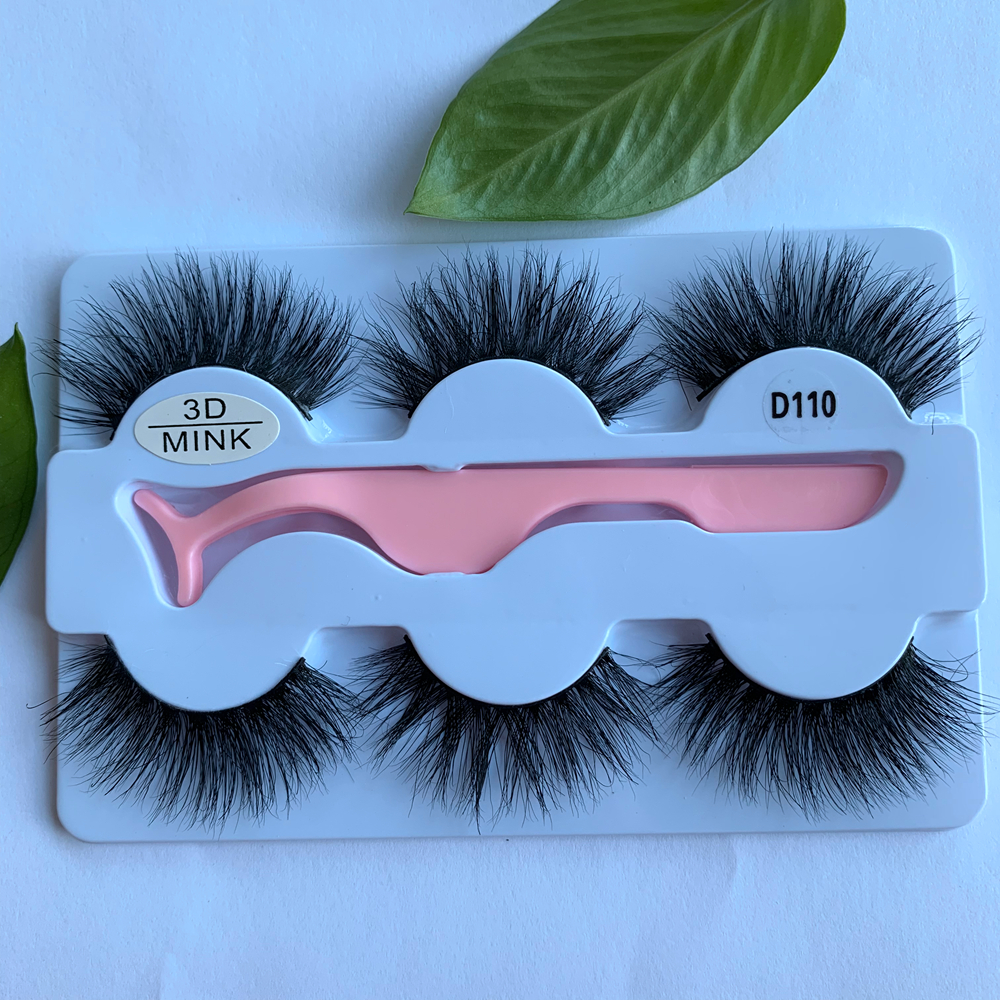 Hot Sale 3d Mink Lashes With Custom Box Natural/Thick Long Eye Lashes Mink Hair Soft False Eyeslashes 3 Pairs &Tweezer