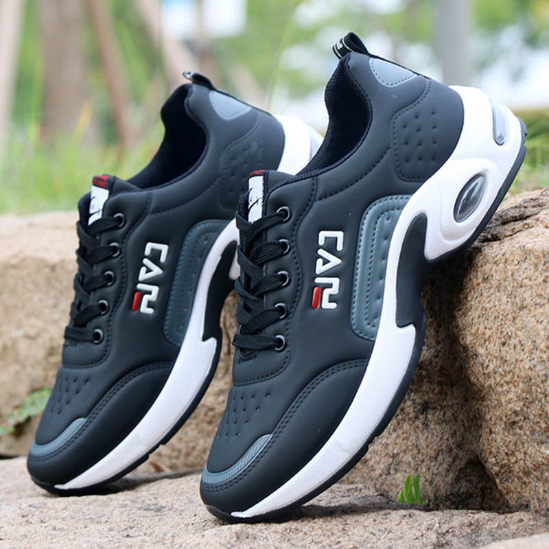 Autumn Shoes Men Casual Non-slip Man Walking Footwear Students Air Cushion Sneakers For Man PU Leather Shoes Winter Tenis Mascul