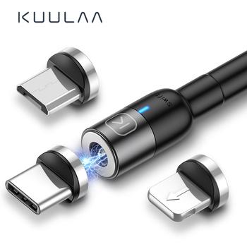 KUULAA magnetyczny kabel Micro USB typu C dla iPhone Xiaomi Android telefon komórkowy szybkie ładowanie kabel USB magnes ładowarka przewód tanie i dobre opinie LIGHTNING TYPE-C NYLON USB A Magnetyczne Ze wskaźnikiem LED Złącze ze stopu
