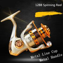 3000 Series 12 Ball Bearing 5.5:1 Gear Ratio Fishing Reels Saltwater Freshwater Spinning Wheel with Metal Line Cup & Handle 7000 series 12 ball bearing 5 2 1 fishing reel saltwater freshwater spinning fishing wheel with metal line cup