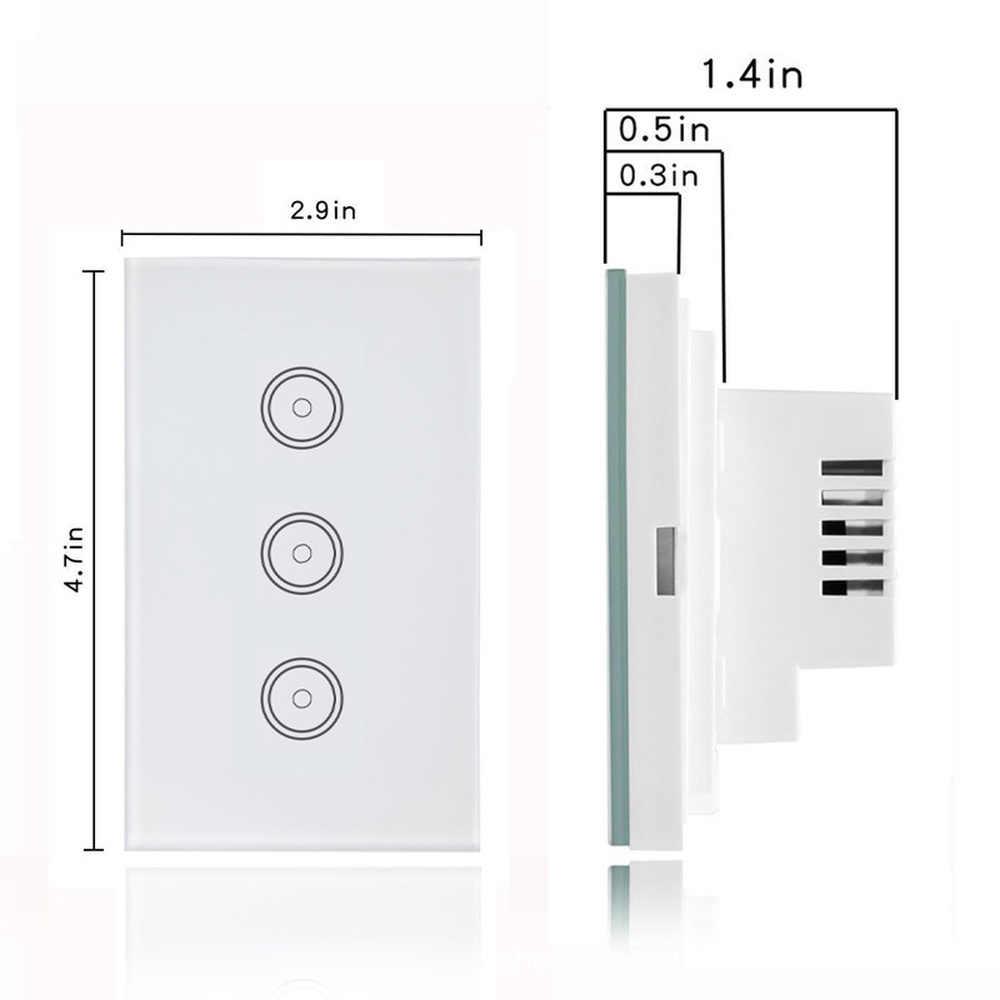 Wifi Smart Lampu Kaca Layar Sentuh Panel Kontrol Suara Nirkabel Dinding Bekerja untuk Alexa Echo Google Home 1/ 2/3/4-Gang