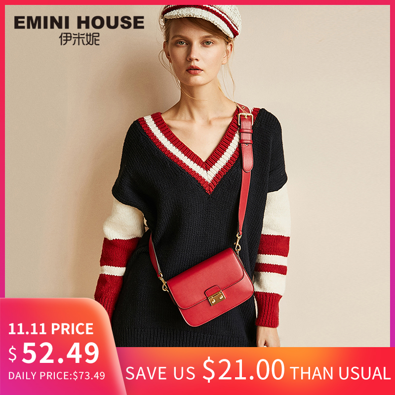 EMINI HOUSE Classic Padlock Flap Bags Split Leather Women Shoulder Bag Crossbody Bags for Women High Quality Women Messenger Bag